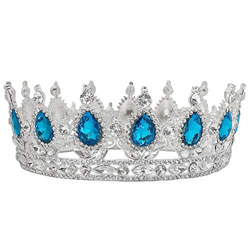 Minkissy - Elegante corona de novia, tiara para boda, vestido de boda, accesorio para fiesta, joya para el pelo para mujeres (plata y azul lagaro)