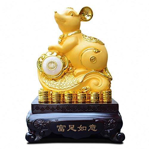 liushop Estatua de Buda 2020 Año Chino del Zodiaco de la Rata de Gran tamaño de Oro Resina Rata de Colección Figuras de Apertura Regalo de los Regalos Decor Estatua Decoración de meditación