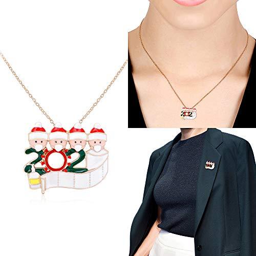 Valeny Weihnachtsschmuck Halskette, Weihnachten Survivor Brosche Pin Personalisierte Quarantäne Survivor Familie Weihnachten Geschenke Brosche für Mädchen Freunde Familien (Family of 4)