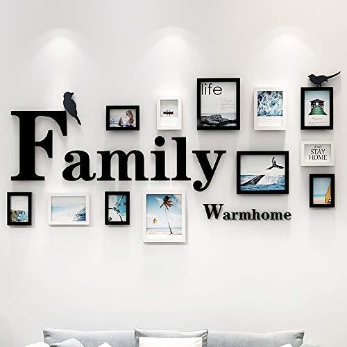 YANGMAN-F fotolijsten Collage set van 12 stuks, muur opknoping fotolijst met opknoping sjabloon en 3D letters muur Decor voor woonkamer restaurant achtergrond