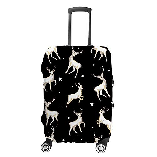 CHEHONG Suitcase Cover Luggage Cover Deer White Black Travel Trolley Case Protective Washable Polyester Fiber Elastic Dustproof Fits 22-24 Inch