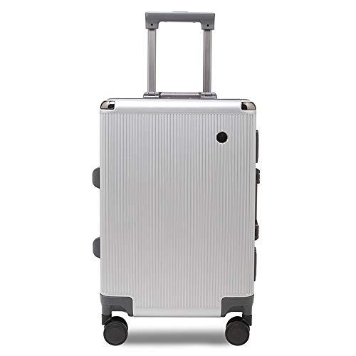 WANLN Seguridad Ladrón Diseñe su Propia Maleta Promocional Maleta Urtralight Fashion PC Trolley Equipaje,Plata,20inches