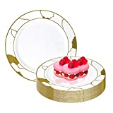Elegant Disposable Plastic Dessert Plates 120 Pcs - 7.5' Heavy Duty Salad Plates - Fancy White with Gold Marble Appetizer Plates Reusable Catering Party Supplies For Wedding, Birthday & All Occasions