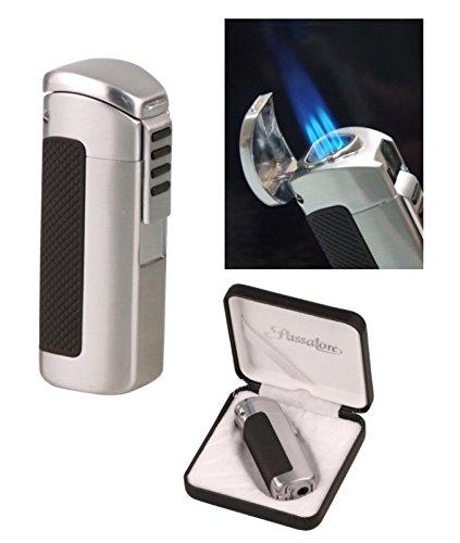 Lifestyle-Ambiente Passatore Zigarren Feuerzeug Chrom-Satin 3fach Jetflamme mit Zigarrenbohrer inkl Tastingbogen