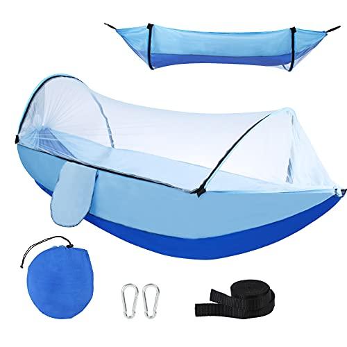 Camping Hammock with Mosquito Net, Hammocks with Tree Straps Carabiners, Outdoor Portable Hammock Men Women Kid, Nylon Parachute Hammocks for Backpacking, Travel, Backyard, Patio, Hiking, Blue