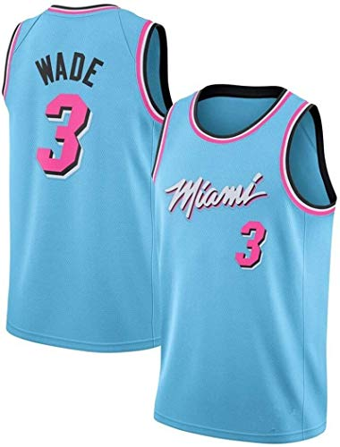 Gflyme Maglia da Uomo Uniform Manica Corta Ricamata Basket NBA Miami Heat Jersey Wade No.3 Jersey di Pallacanestro Maschile (Color : Blue, Size : M)