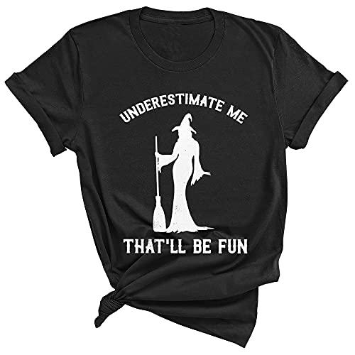 Witch Halloween Moon Stars Underestimate Me That'll Be Fun Unisex Crewneck Tee shirt gift women men (XL, Navy)