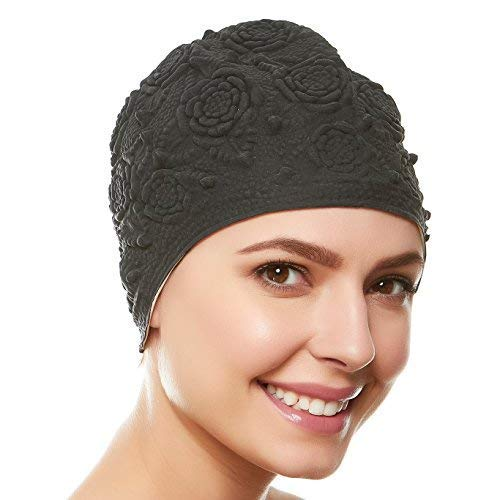 Beemo Women Swim Bathing Caps Ladies Retro Style Latex Embossed- Black
