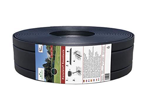 Replast Bordo per prato in plastica in rotolo da 25 m, per giardino, da 125 x 4 mm (etichetta in...