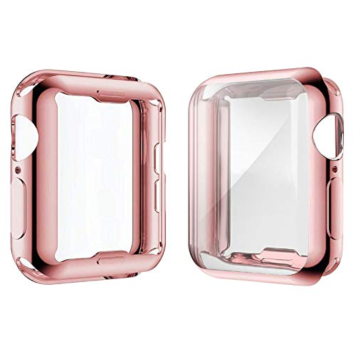 [2-Pack] Julk Case for Apple Watch Series 6 / SE/Series 5 / Series 4 Screen Protector 40mm, New iWatch Overall Protective Case TPU HD Ultra-Thin Cover (1 Rose Pink+1 Transparent)