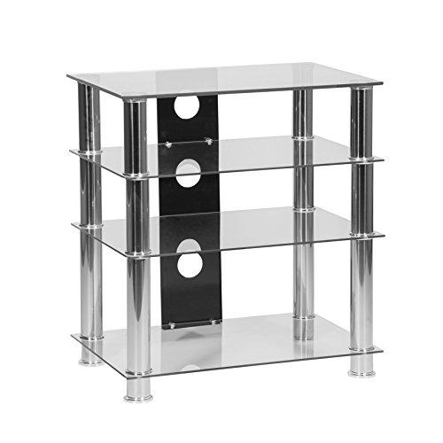 Hi-Fi-Standregal mit 4 Ablagen aus klarem Glas