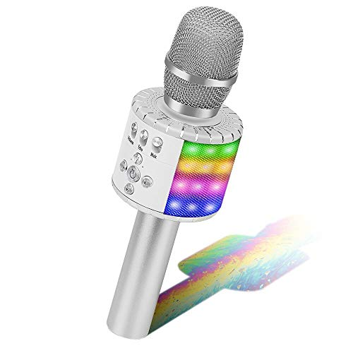 Drahtloses Mikrofon Player, BONAOK Karaoke Bluetooth Mikrophon Home KTV Karaoke Maschinen Lautsprecher Geburtstagsfeier-Geschenk-Spielzeug für Android/iPhone/iPad/Sony/PC (Siber)