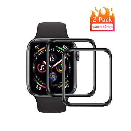 Apple Watch 40mm Vetro Temperato Pellicola Protettiva [2 Pezzi] Pellicola Proteggi Schermo Apple Watch Series 5/4 [3D Curved Full Coverage] Protezione Schermo per Apple Watch 40mm (Nero)
