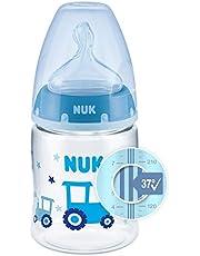 NUK First Choice+ butelka dla niemowląt | z wyświetlaczem kontroli temperatury | 150 ml | 0-6 miesięcy | antykoliczna | nie zawiera BPA | niebieski (traktor)