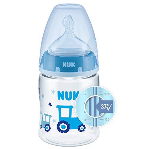Nuk First Choice+ Biberón, 0-6 Meses, Control de Temperatura, Válvula Anticólico, Tetina de Silicona, Sin BPA, Tractor Azul, 150 Mililitros