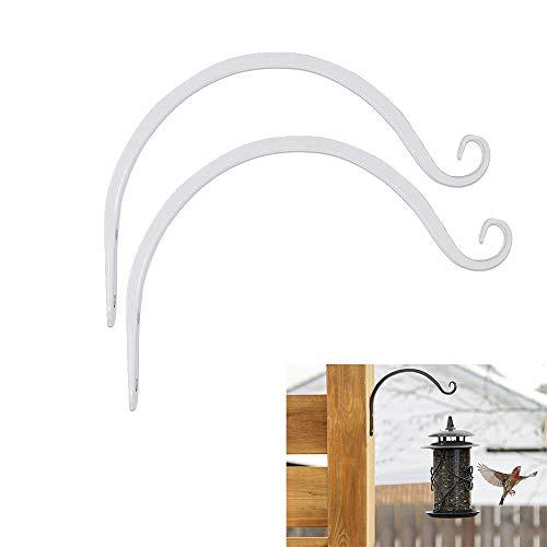 Blumenampel Halterung, 2 Stück Metall Wandhaken für Blumenampel Wandhalterung Hängeampel Draußen Gusseisen Blumenampelhalter Garten für Zaun Blumenampel Groß, Hängekörbe, Windspiele, Laternen (Weiß)