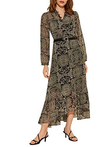 LC WAIKIKI Damen Chiffon-Kleid Gemustert mit Gürtel