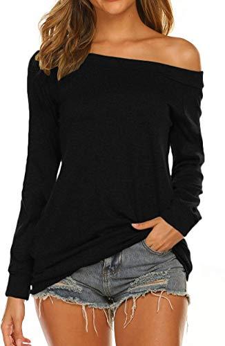 Damen Oberteile One Shoulder Top Langarmshirt Locker Bluse Shirt (Schwarz,L)
