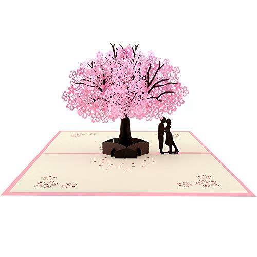 VEESUN 3D Grußkarten Geburtstagskarte Hochzeitskarte Pop Up Karte Liebe, Wedding Card Glückwunschkarte Geburtstags Muttertags Hochzeitstag Valentinstag, Geschenke zur Hochzeit, Kirschblüte, MEHRWEG