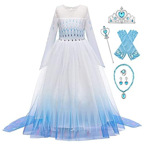 New Front Disfraz de princesa Elsa para niña vestido de princesa de 2 mangas largas disfraz y accesorios de Navidad, Halloween, cumpleaños vestido de cosplay corona Blanco 6 unidades
