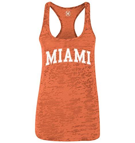 Miami - State Proud Strong Ladies Racerback Tank Top (Orange, Medium)