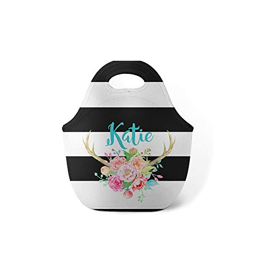 Watercolor Flowers Antlers Personalized Preppy Stripes Lunch Tote