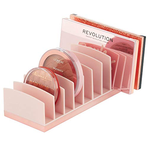mDesign Plastic Makeup Organizer for Bathroom Countertops, Vanities, Cabinets: Cosmetics Storage Solution for - Eyeshadow Palettes, Contour Kits, Blush, Face Powder - 9 Sections - Light Pink/Rose Gold