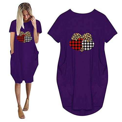 Carmar Vestidos de mujer de gran tamaño con bolsillos, estampado de leopardo, estampado de corazón, vestido de manga corta, longitud hasta la rodilla, tallas grandes.S-5XL