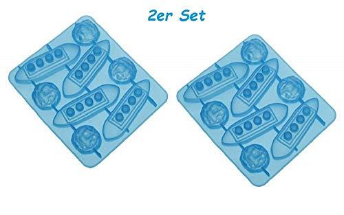 HelpCuisine bac à glaçons/Moule à glaçons en forme de 4 bateaux et 4 icebergs bleu ou gateau chocolat moule bac a glacon insolite, SET de 2 moules en silicone alimentaire sans BPA et certifié par FDA