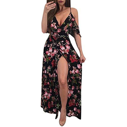 Reooly Mujeres Sexy Cuello en V Boho Estampado Floral Vestido Casual Vintage Summer Beach Wrap Sash Vestido de Fiesta de Noche Corta