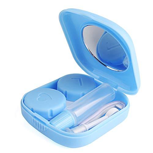 Keyzone Kontaktlinsenbehälter Kunststoffbehälter mit Pinzette und Saugnapf Reiseset für Aktivitäten im Freien (Blau)