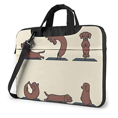 Bolso Impreso Yoga del Ordenador portátil del Perro, Cartera del Bolso de Mensajero del Negocio del Bolso de la Caja del Ordenador portátil