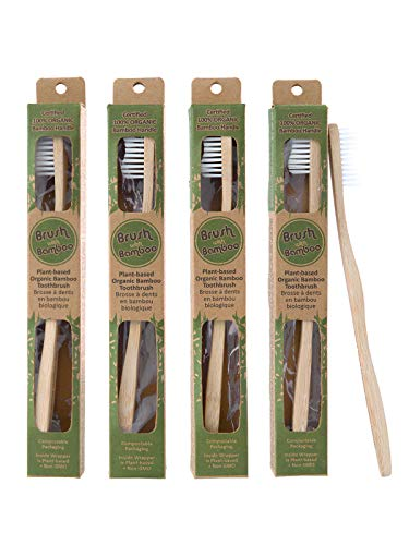 Brush with Bamboo Toothbrush with Plant-Based Bristles, Organic Bamboo, BPA-Free, Eco-Friendly, 100% Biobased, Soft Bristles, Zero Waste, Dental Care Product - 4 Pack