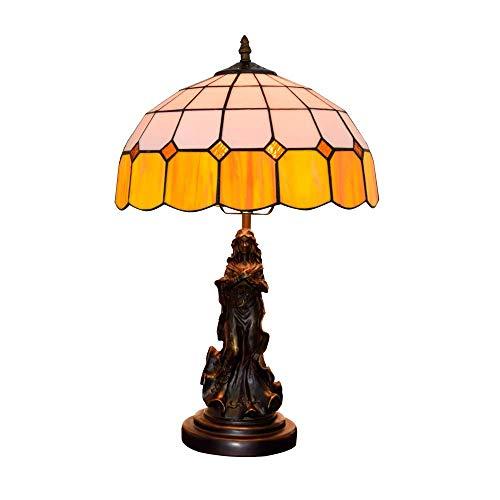 Diseño Personalizado 12 pulgadas lámpara de escritorio moderna europea mediterránea amarillo Sala Comedor Dormitorio de noche contador barra ligera Tiffany lámpara de cristal coloreado cubierta Tiffan