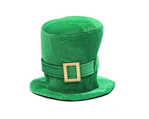 WJA St Patricks Day Hats Men Women St. Patrick's Day Shamrock Green Velvet Top Hat Green St. Patricks Day Party Favor Accessories, Large
