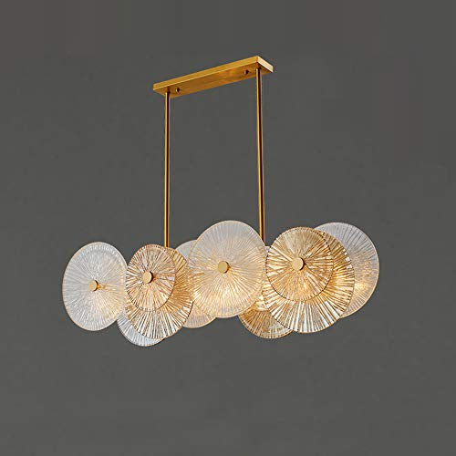 Nurluce Luxury Rectangle Chandelier 8 Lights Pendant Light Gold Chandelier Lighting Fixture...