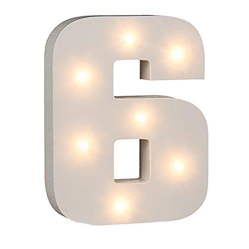 schenken-24 Beleuchtete Zahlen (0-9) mit LED-Birnchen, weiß, ca. 16 cm Höhe, Zahlen:Zahl 6