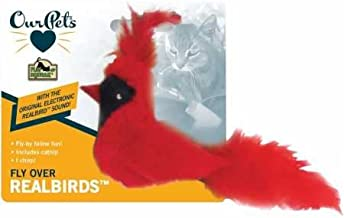 OurPets Play-N-Squeak Real Birds Touch Down Interactive Cat Toy