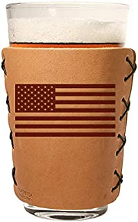 Leather Pint Glass Sleeve with AmericanFlag Logo - The Original Leather Pint Glass Holder