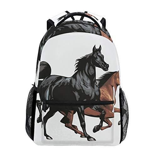 Zaino da viaggio Zaini da viaggio realistici per la scuola di cavalli neri Zaino per laptop Borsa da viaggio per laptop da donna Mens Ragazzi