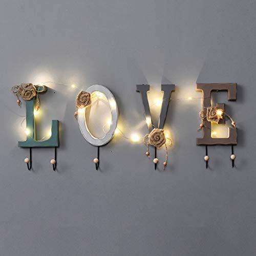 Hyxqyzz Kledingrek, wandbevestiging, decoratieve kledinghaak met led-koord-licht-gordel-hanger en hoed organizer Entryway hondenriem en sleutelhouder, creatief alfabetpatroon