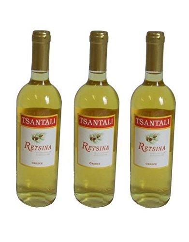 3x 750 ml Retsina Tsantali Spar Set 11,5% gehartzter Weißwein Weiß Wein aus Griechenland Chalkidiki Savatiano + 1 Probiersachet Olivenöl 1ml aus Kreta