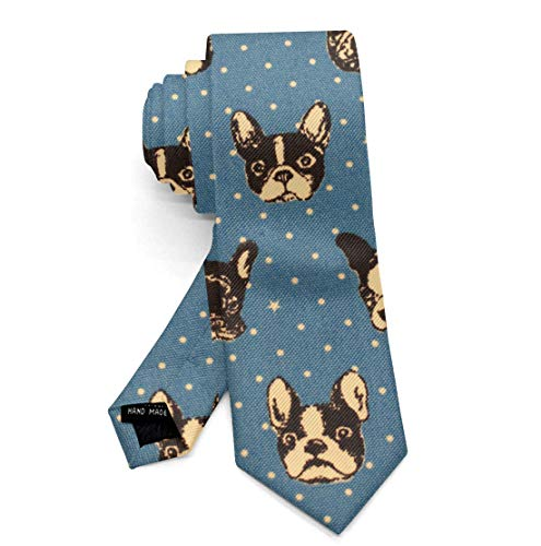 New Polyester Textile Men's Neckties French Bulldogs Neck Ties Gift