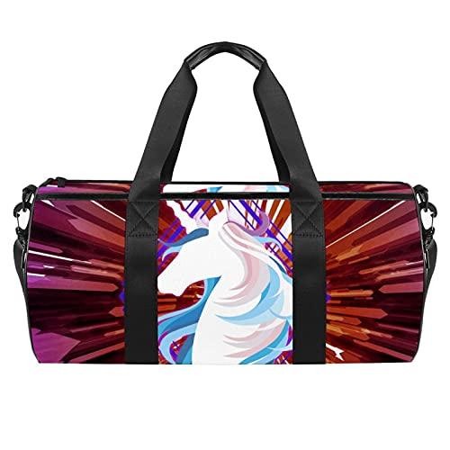 Borsone cilindrico da viaggio con tasca bagnata, leggera, con tracolla, colore: rosso unicorno