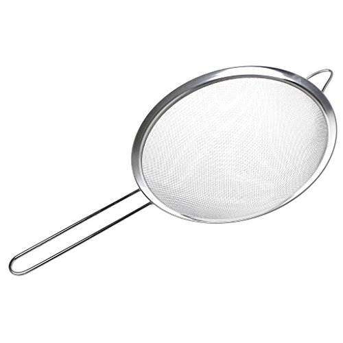 karrychen Kitchen Stainless Steel Flour Tea Strainer Mesh Colander Sieve Filter Sifter- 22#