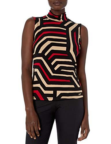 Calvin Klein Damen Women's Sleeveless Printed Mock Neck Knit Top Anzugjacke, Business-Stil, Camel Multi, Groß
