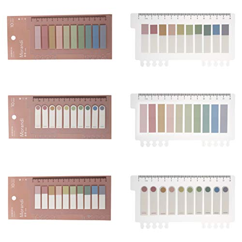 NUOBESTY 3 Sets Index Tabs Colorful Sticky Notes Adhesive Index Sticker Memo Pad Notebooks Diary Planner Page Markers for Home Office School