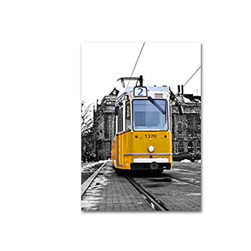 SDFSD Vintage gelbe Londoner Landschaftsdrucke Wandkunst Leinwandbilder POP Reiseplakate Bilder für Wohnzimmer Wohnaccessoires 55x75cm
