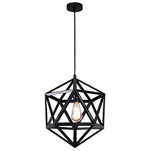 Xzhstes Lámpara De Araña Geométrica LED De Hierro Forjado Bar Restaurante Restaurante Estilo Industrial Con Múltiples Facetas De Personalidad Creativa Lámparas De Color Negro