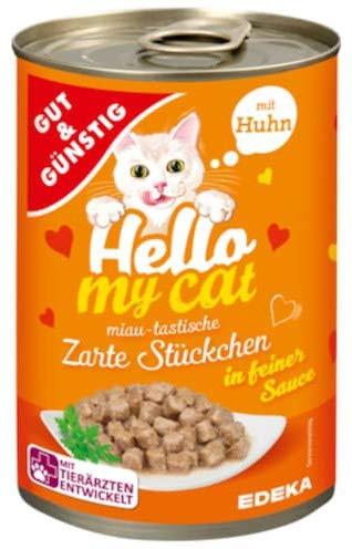 Gut & Günstig Hello My cat Zarte Stückchen mit Huhn in feiner Sauce im 5er Pack (5 x 415g)